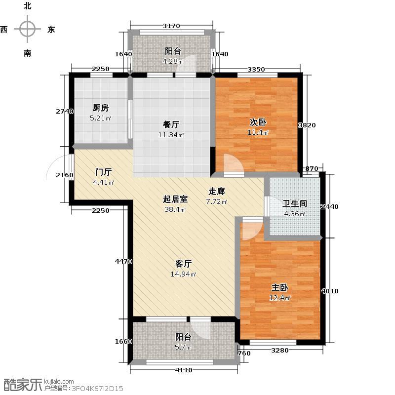 鹿山D鹿山3#4#8#86,13-90,11-92,92平米两室两厅一卫户型
