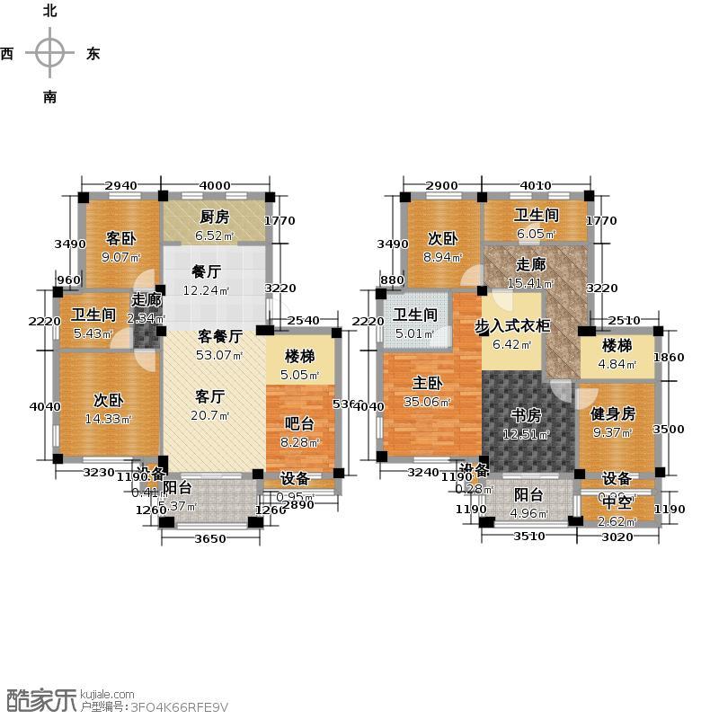 远洲国际城215.32㎡五室两厅三卫户型