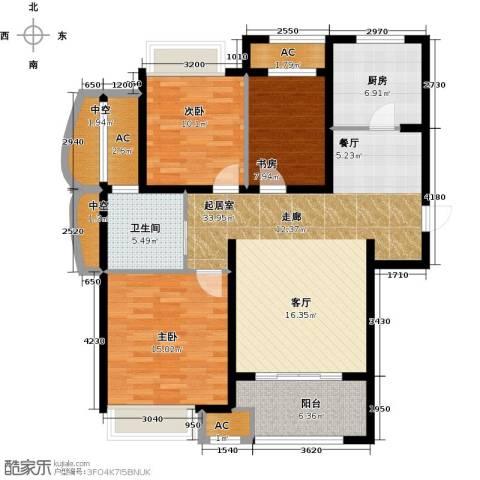 新城香溢紫郡3室0厅1卫1厨109.37㎡户型图