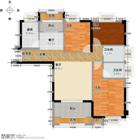 诚盛御庭3室0厅2卫1厨117.00㎡户型图