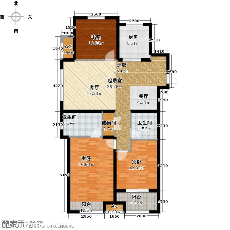 万科金域缇香117.00㎡南地块D户型 三室两厅两卫户型3室2厅2卫