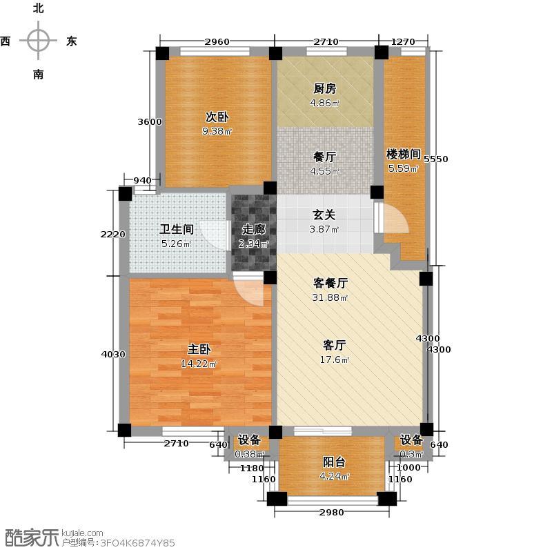 远洲国际城78.77㎡两室两厅一卫户型