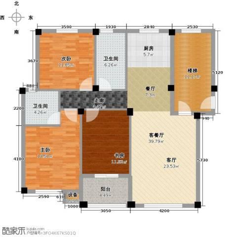 远洲国际城3室1厅2卫0厨113.00㎡户型图