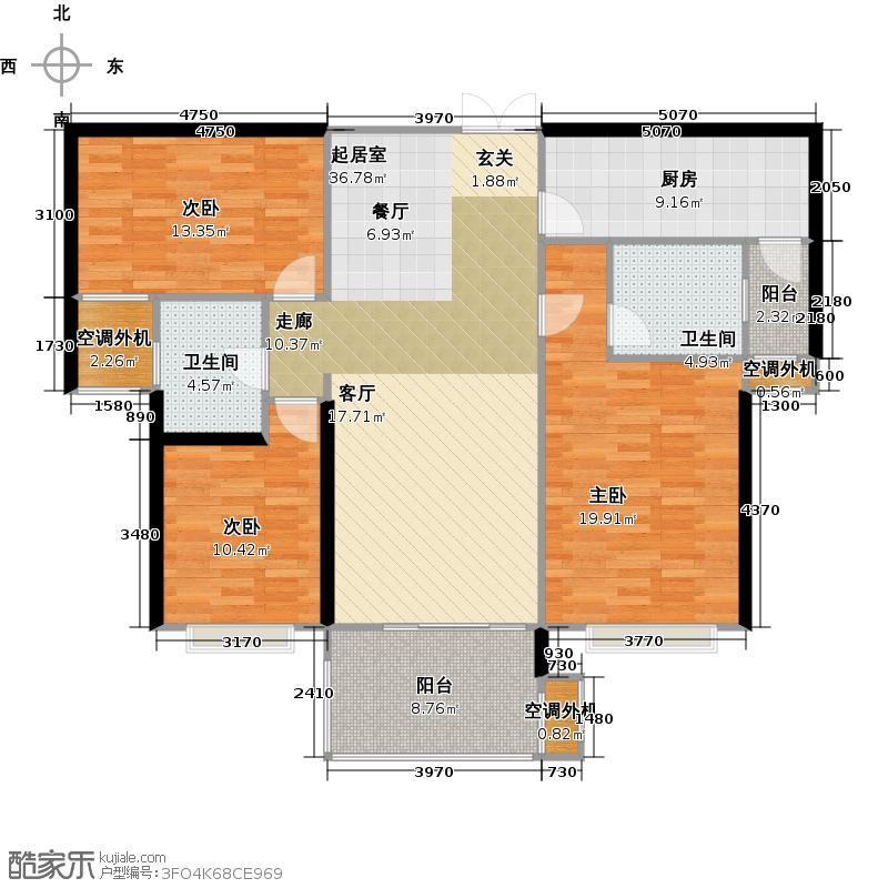 中建溪岸观邸125.00㎡最新C1户型3室2厅2卫