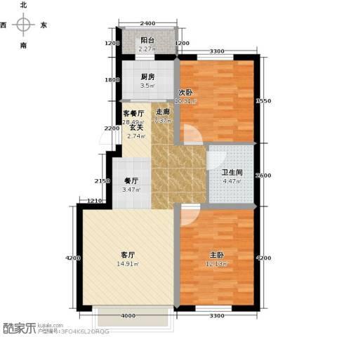 凯荣禧乐都2室1厅1卫1厨88.00㎡户型图