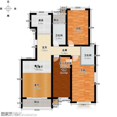 领世公馆3室1厅2卫1厨154.00㎡户型图