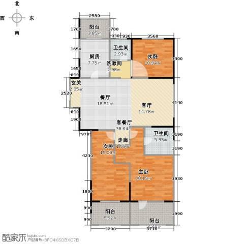 朗诗绿色街区3室1厅2卫1厨124.00㎡户型图