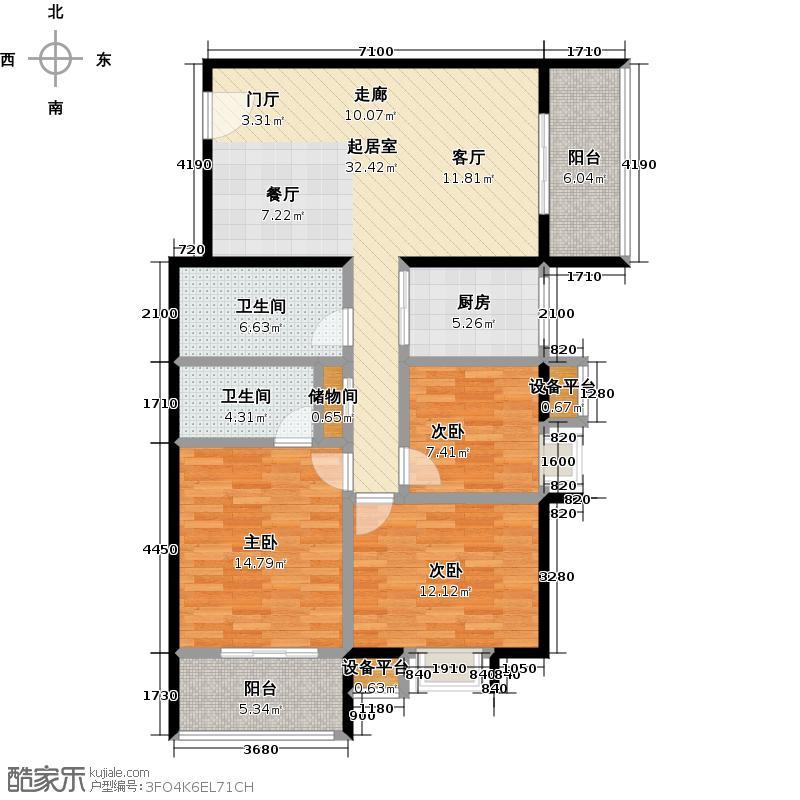 半坡国际广场135.48㎡E户型3室2厅2卫户型3室2厅2卫