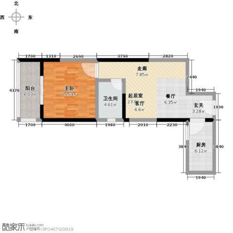 爱情公寓1室0厅1卫1厨81.00㎡户型图