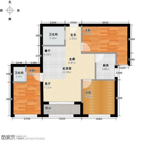 凤城国际广场3室0厅2卫1厨69.93㎡户型图