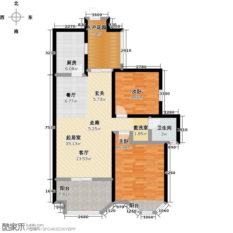 伊顿公馆96.00㎡L户型两室两厅一卫户型2室2厅-T