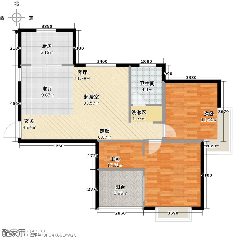 和达和城公寓B二室二厅87㎡户型