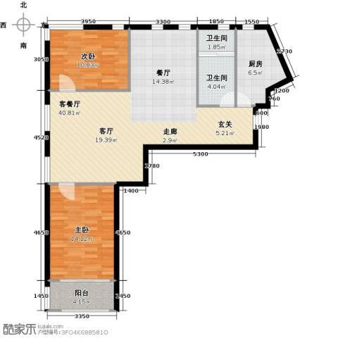 金科清都记忆2室1厅2卫1厨121.00㎡户型图