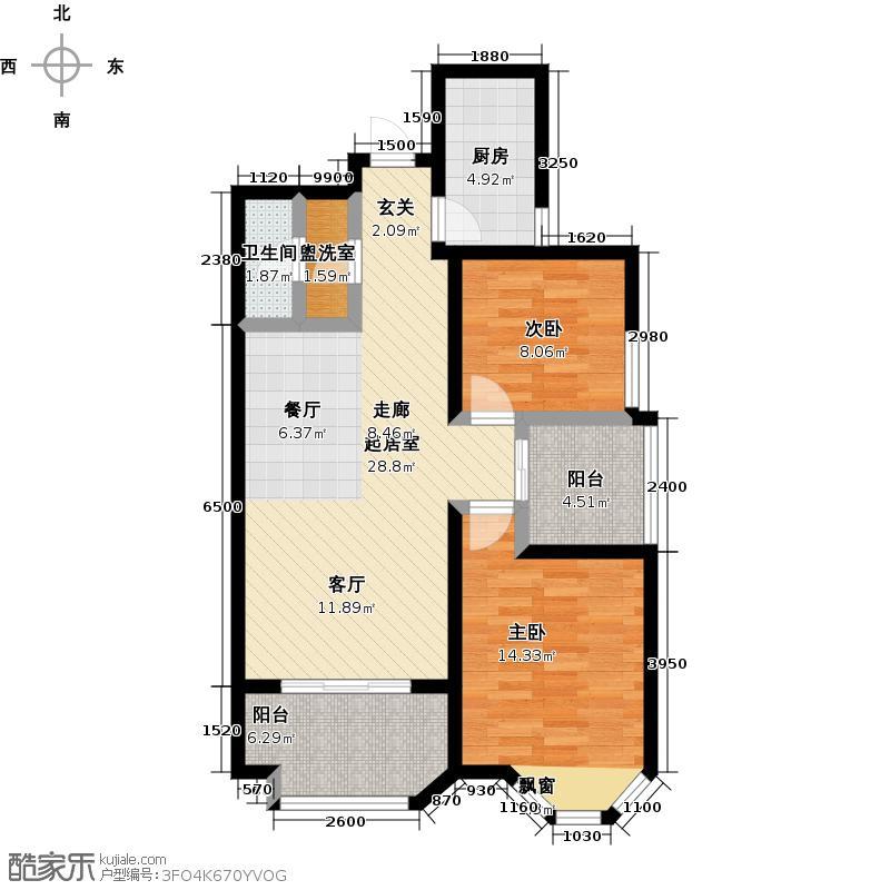 伊顿公馆101.00㎡I户型 2室2厅1卫1厨户型2室2厅1卫