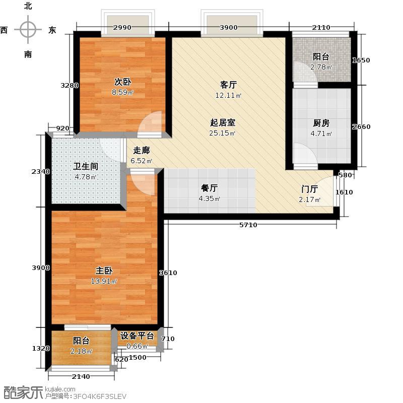 东城新一家88.88㎡D/E户型2室2厅1卫户型2室2厅1卫