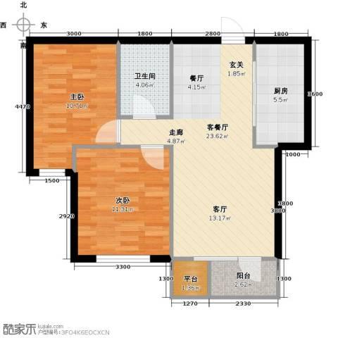 华宇梧桐苑2室1厅1卫1厨79.00㎡户型图