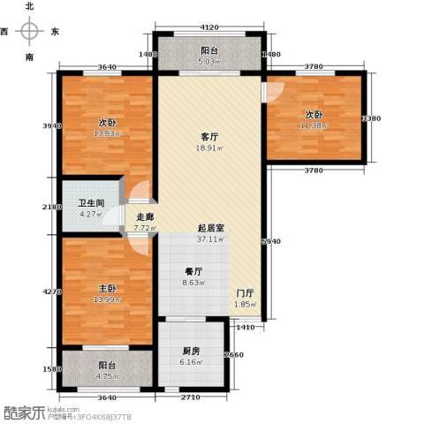 景泰茗苑3室0厅1卫1厨127.00㎡户型图