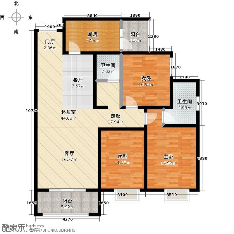 景泰茗苑139.47㎡2-C3室2厅2卫户型3室2厅2卫