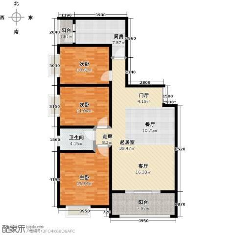 景泰茗苑3室0厅1卫1厨126.00㎡户型图