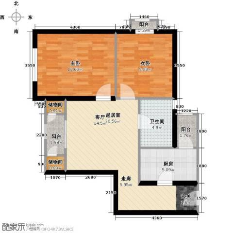 先锋领寓2室0厅1卫1厨67.61㎡户型图