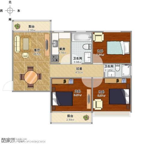 广石家园3室1厅2卫1厨78.00㎡户型图