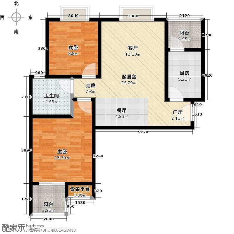 东城新一家88.43㎡D/E户型2室2厅1卫户型