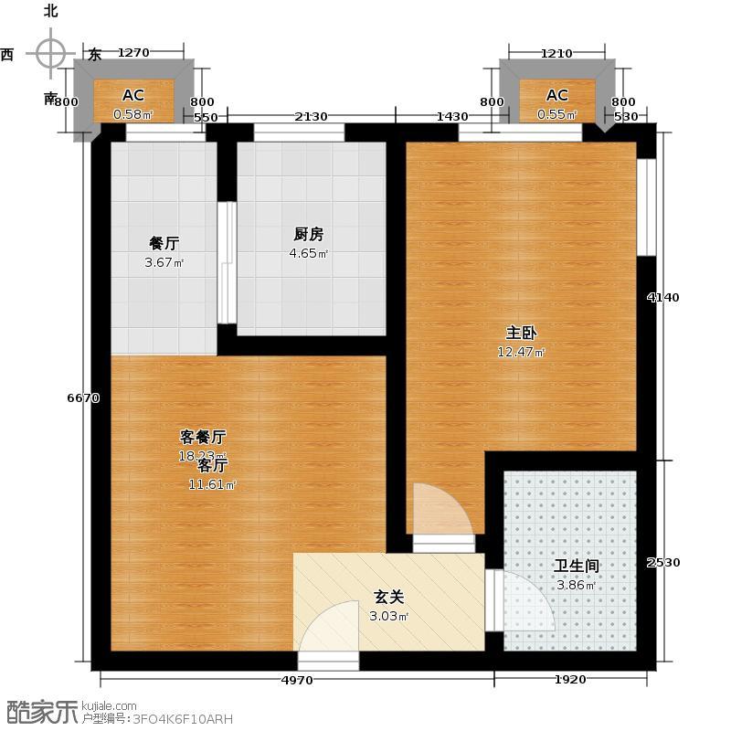 百欣花园50.48㎡一室一厅一厨一卫户型1室1厅1卫