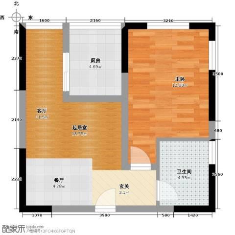 百欣花园1室0厅1卫1厨50.00㎡户型图