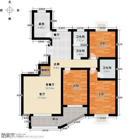 紫麟苑3室1厅3卫1厨119.00㎡户型图