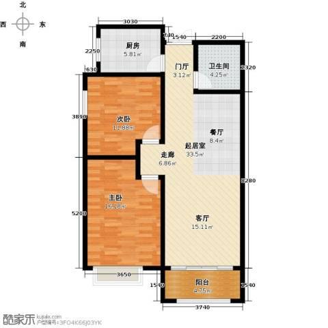 景泰茗苑2室0厅1卫1厨107.00㎡户型图