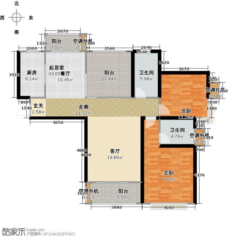 中建溪岸观邸125.00㎡最新A3户型2室2厅2卫