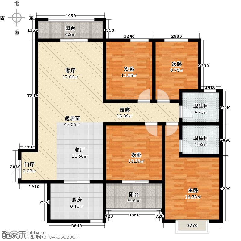 景泰茗苑159.43㎡4-B户型4室2厅2卫户型4室2厅2卫