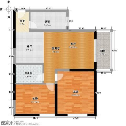 百欣花园2室1厅1卫1厨91.00㎡户型图