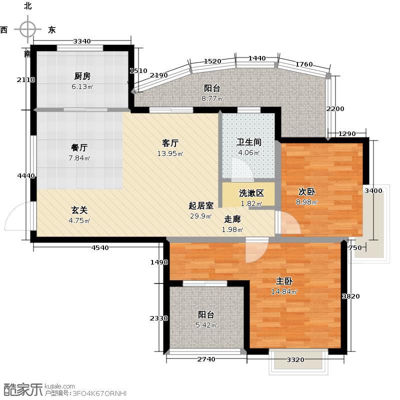 和达和城88.00㎡高层7号、8号、9号A2户型2室2厅1卫