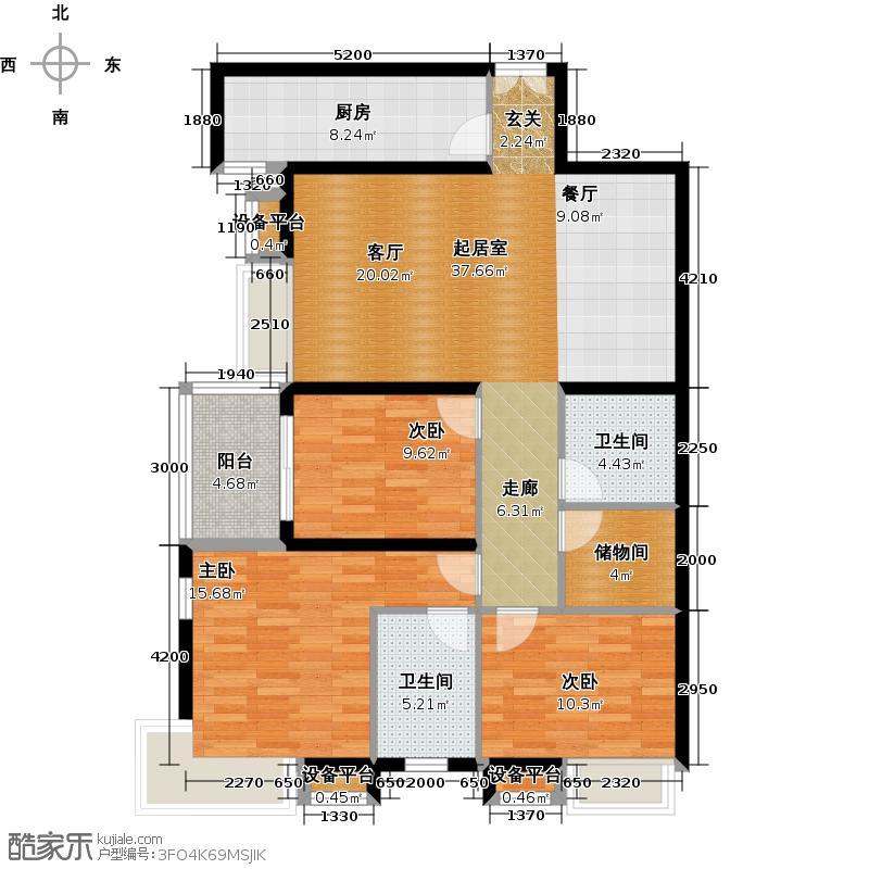 紫薇曲江意境5、8、10、12号楼2室2厅1卫1厨131.00㎡A-3户型图户型