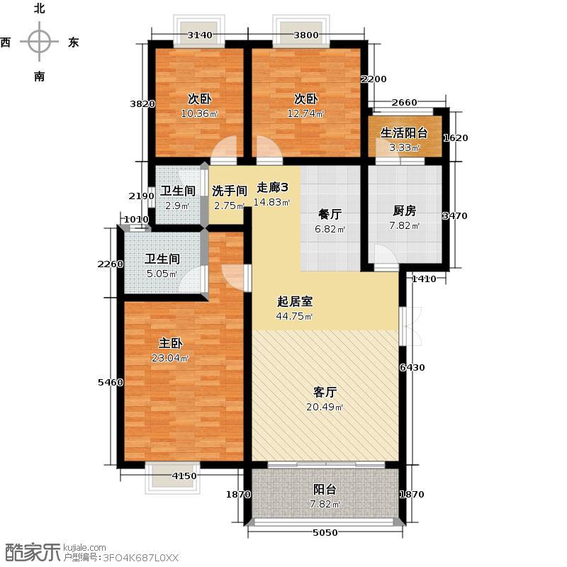 荣华水岸新城134.56㎡D4户型三室两厅两卫户型3室2厅2卫