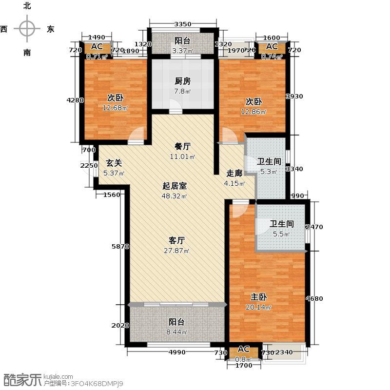绿地新里卢浮公馆144.00㎡C2三室二厅二卫约QQ