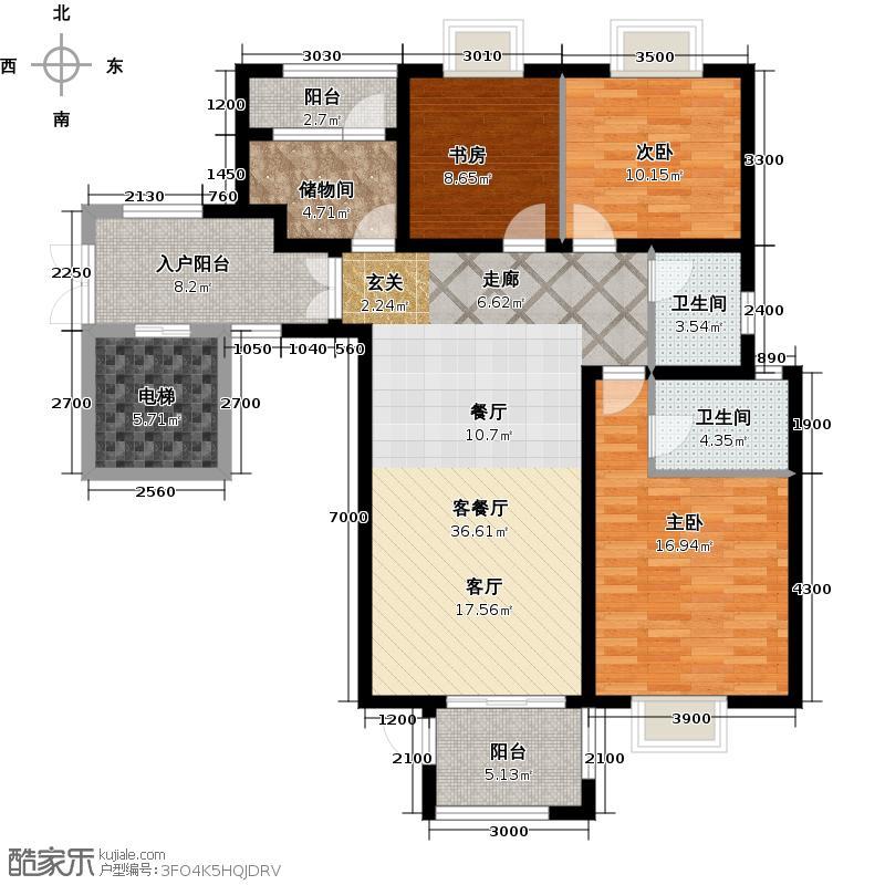 东尚观湖135.00㎡镜湖熙岸 三室两厅两卫户型3室2厅2卫