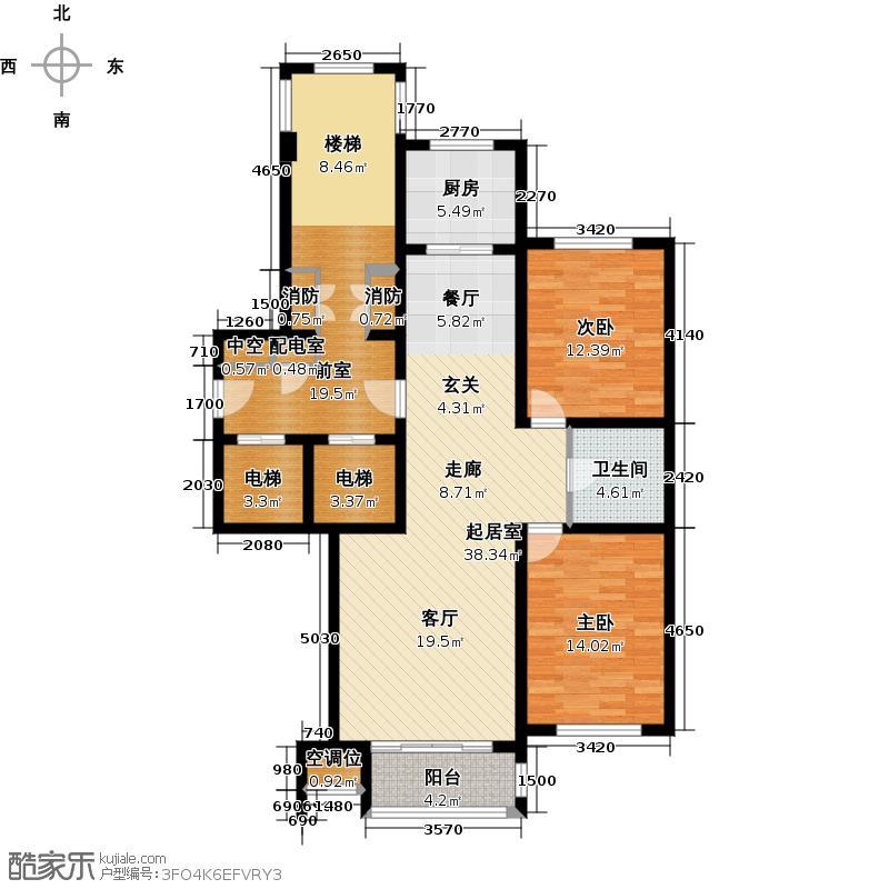 博园公寓126.00㎡E2户型2室2厅1卫