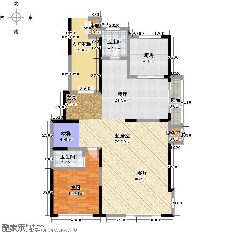 曲江紫汀苑A1户型复式一层户型图户型