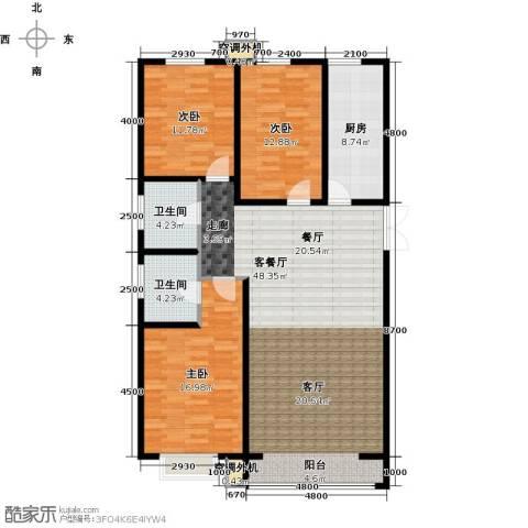 金宇钻石3室1厅2卫1厨119.55㎡户型图