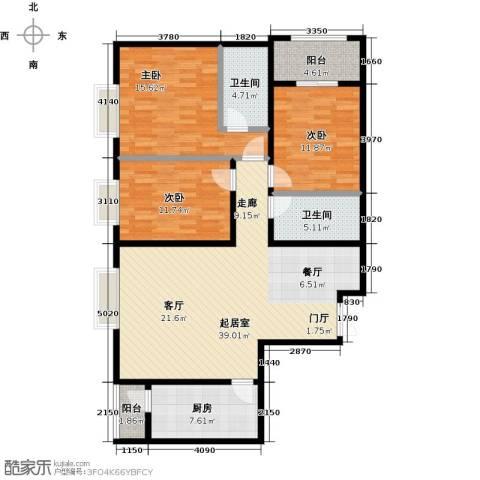 景泰茗苑3室0厅2卫1厨132.00㎡户型图