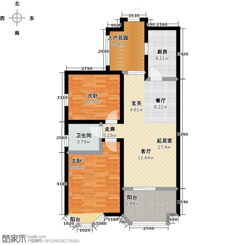 伊顿公馆91.00㎡M户型两室两厅一卫户型2室2厅1卫-T