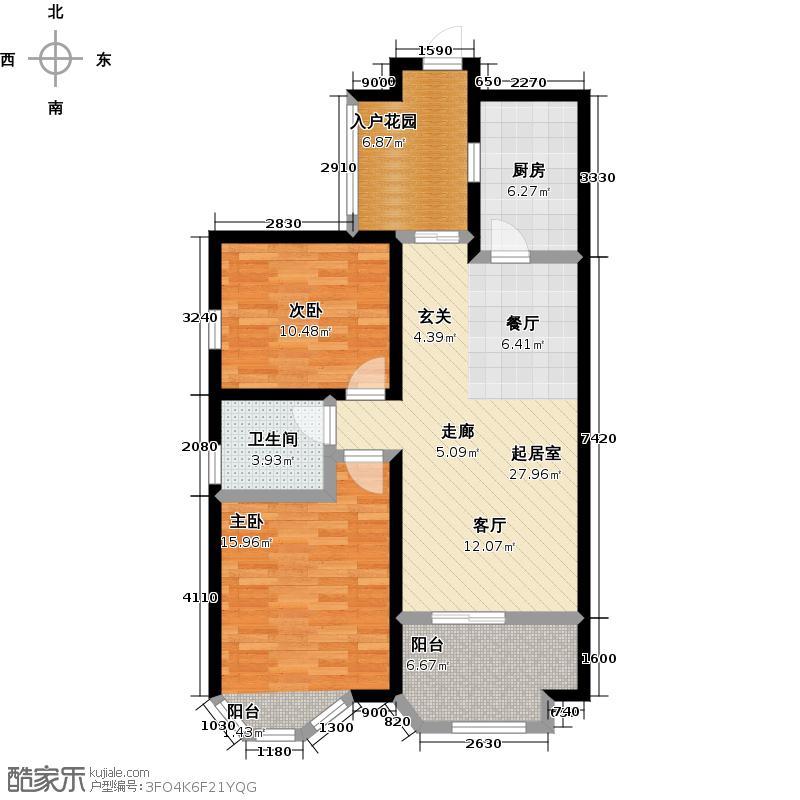伊顿公馆91.00㎡M户型2室2厅1卫1厨户型2室2厅-T