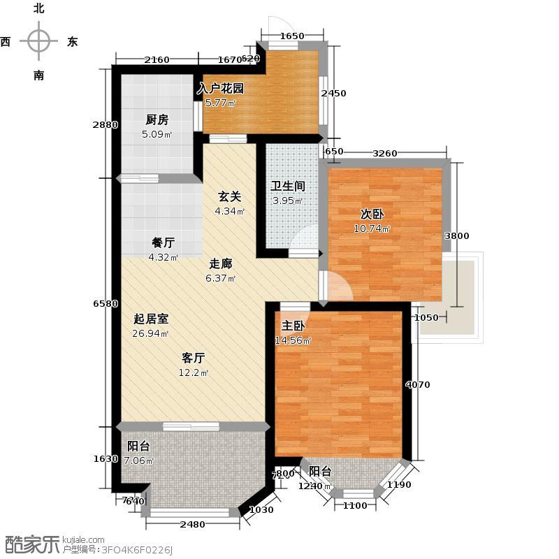 伊顿公馆95.00㎡F户型2室2厅1卫1厨户型2室2厅-T