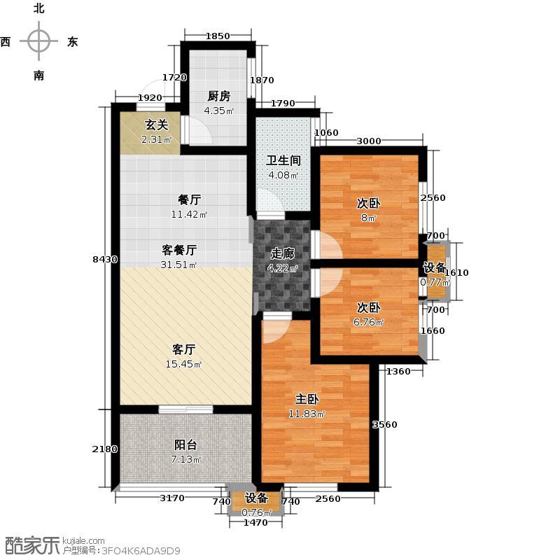 汉城湖畔97.00㎡D户型3室2厅1卫