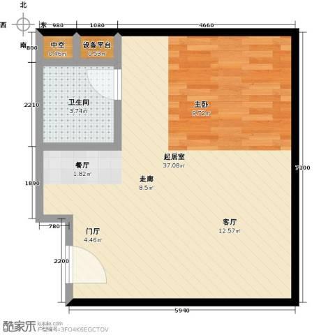 长安公馆1卫0厨58.00㎡户型图