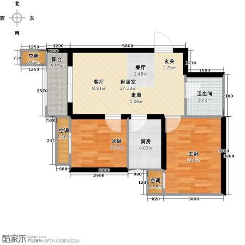莱茵小城2室0厅1卫1厨66.00㎡户型图