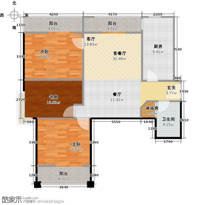 上东大道119.00㎡C户型3室2厅1卫户型3室2厅1卫