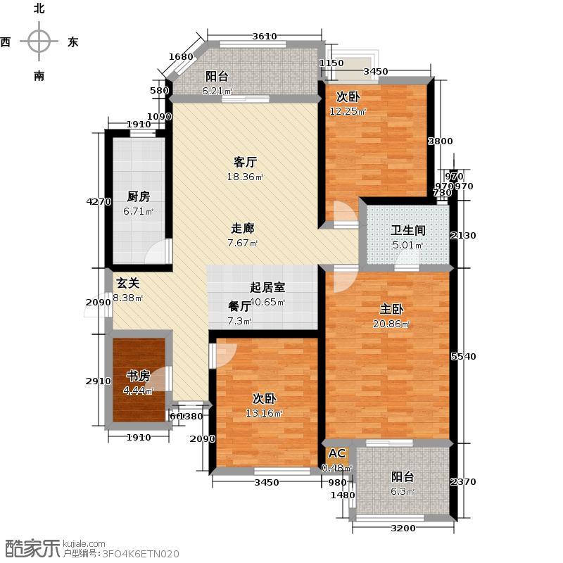 伊顿公馆133.00㎡K户型3室2厅2卫1厨户型3室2厅-T